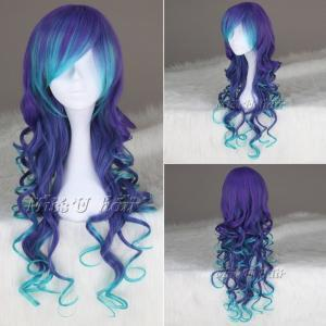 Blue Mix Purple Long Curly Syntheti..