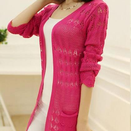 Women Casual Long Sleeve Cardigan H..