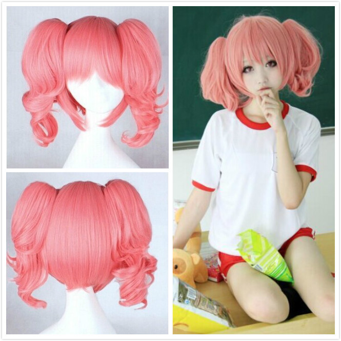Roromiya Karuta Cartoon Party Cos Smoke Pink Cosplay Wig