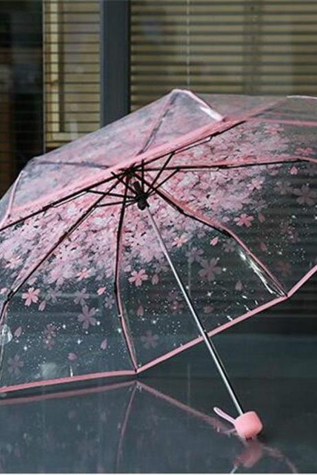 Transparent Beauty Fold Umbrella Pink Cherry Mushroom Umbrella for Apollo Sakura