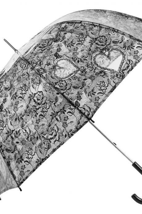 New Transparent Black Bridal Lace Applique Embroidery Print Heart Roses Umbrella