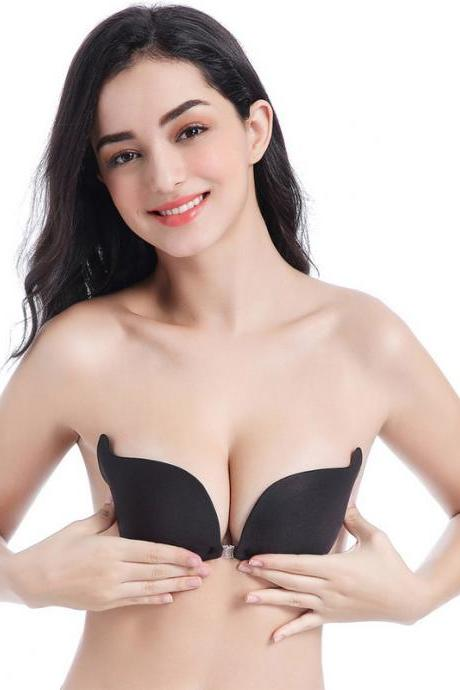 Invisible Strapless Push Up Self Adhesive Backless Magic Stick Black Breast Bra