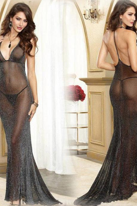 Illusion Women Sexy Sheer Lingerie Long Transparent Sleep Dress Nightwear Gown