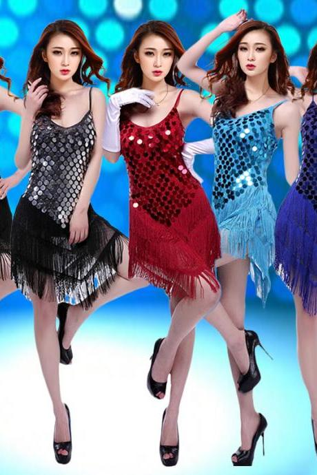 Ladies Women Night Club Cocktail Party Latin Ballroom Dance Sequin Fringe Dress