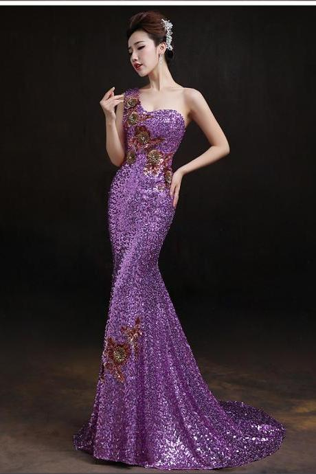 Nice One Shoulder Sequins Mermaid dress Ball Gown Formal Evening Party dresses