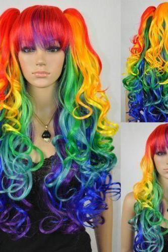Beautiful multi-color Rainbow long curly cosplay long curly wig 2 braids hairnet