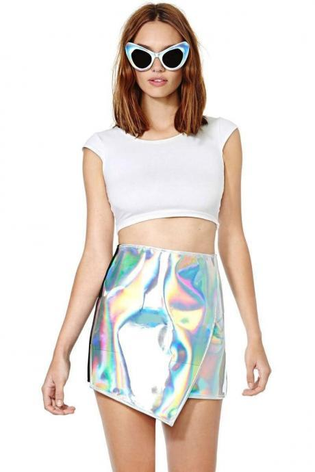 Trendy Amazing Shinning Shiny Silver Hologram Holographic Party Short Mini Skirt