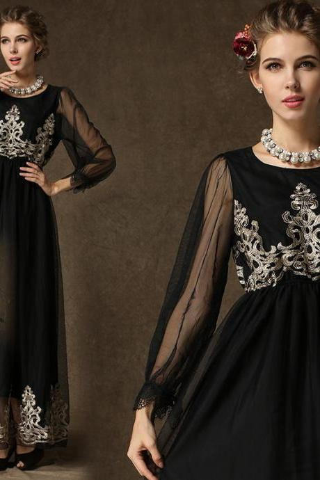 New Women Black Long Maxi Summer Gauze embroid Evening Cocktail Party Slim dress