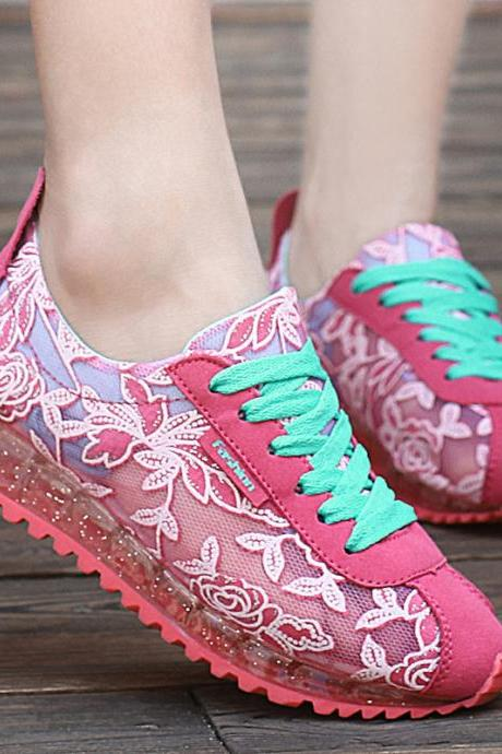 Women Summer Ladies embroidered Leisure Sport running breathable Mesh Flat Shoes