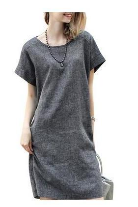 Women Loose Cotton Linen Dress Short Sleeve Tunic Belt Shirt Dress
