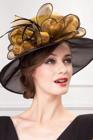 Women lace church dress hats wide brim wedding bow-knot British style hat brown