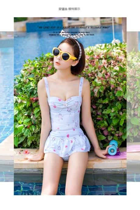 Harajuku Kawai Ladies Unicorn Logo Print One Piece Swimsuit Swimdress Swim Suit