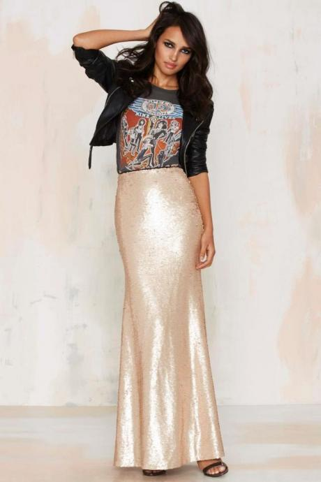 New Trendy Women Fashion Mermaid Sequins Skirt Princess Party Celebrity Skirts