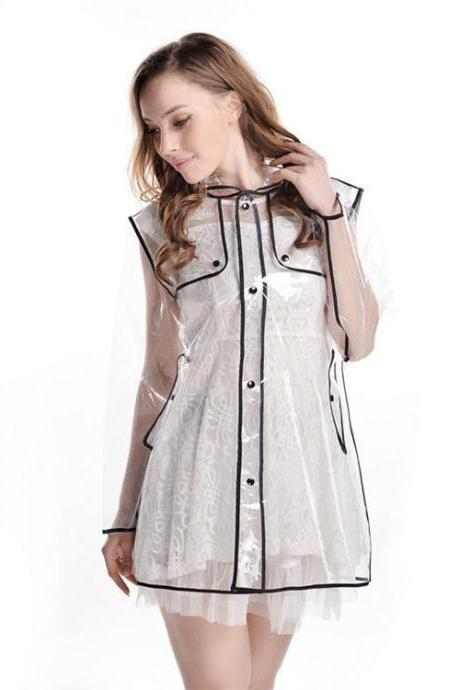 Women Waterproof Jacket Transparent Raincoat Girl Clear Rain Coat Hooded Poncho