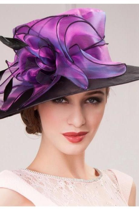 New Beautiful Women Church Hat Flower Fabric Organza Brim Winter Dress Sun Hat