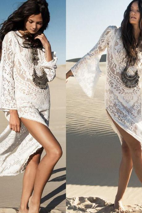 Women Sexy Bikini Swimwear Cover Up Long Slit Lace Hollow Backless Beach Dress