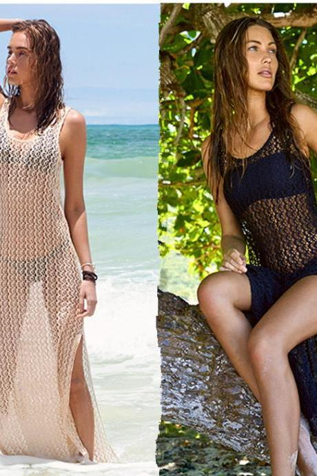 2016 Women Swimwear Cover Maxi Bikini Lace Sexy Crochet cover up beach dress