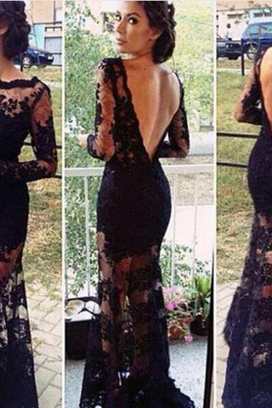 Women Ladies Deep V Neck Lace Backless Party Evening Long Sleeve Dress Clothes