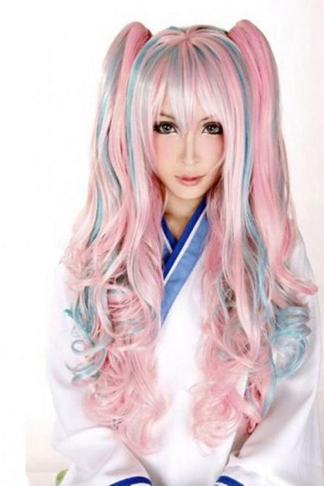 Lolita Women Wavy Curly Hair Anime Full Wig Cosplay Party Mixed Color Pink Hot