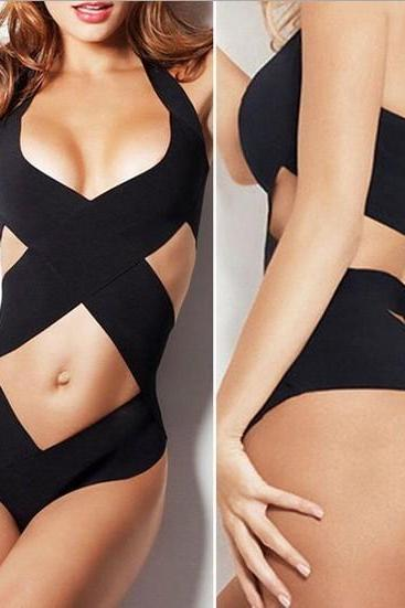 Sexy Women Ladies One-Piece Swimwear Bandage Monokini Swimsuit Bikini Set