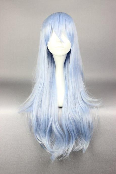 Inazuma Style Long Straight Sky Blue Mixed White Fashion Women Girl Cosplay Wig