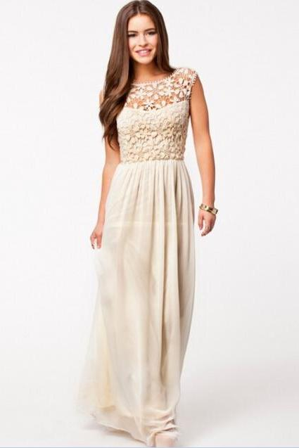 Women Vintage Beige Lace Backless Long Maxi Evening Formal Cocktail Party Dress
