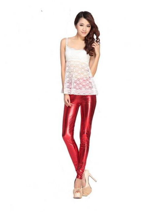 Bright Neon Red Shiny Wet Look Spandex Women Ladies Leggings Stretch Vinyl Blood
