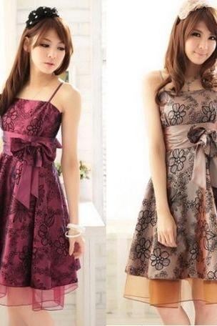 New Arrival Sexy Lady Women Evening Party Wear Dress Floral Purple Champagne