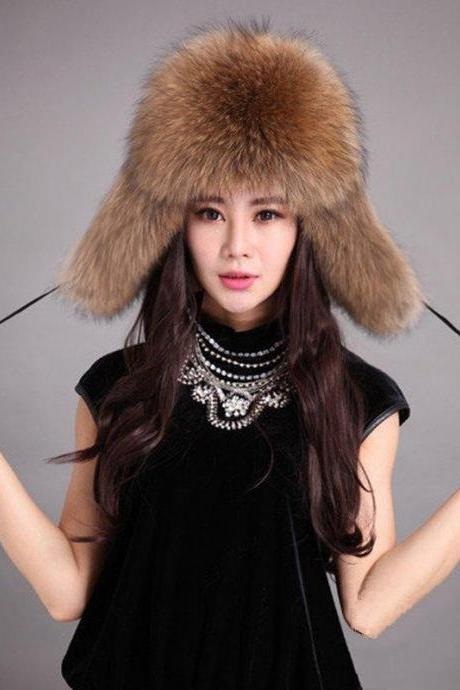 Real Genuine Raccoon Fur Brown Bomber Style Women Cap Chapka Hat For Winter