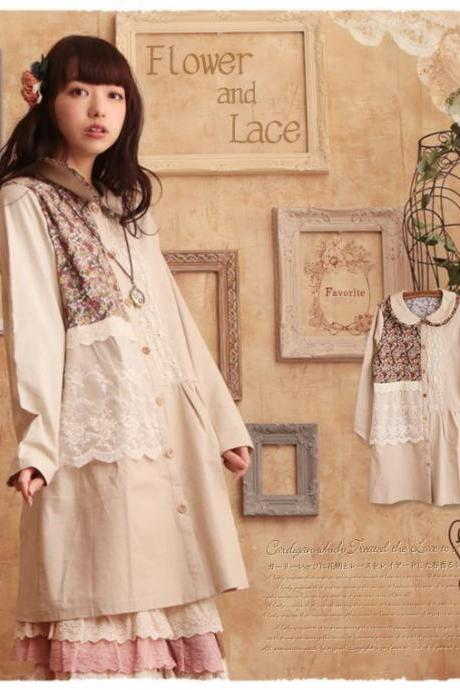 New Mori Girl Japanese Vintage Lace Floral Long Sleeve Dress Loose Blouse