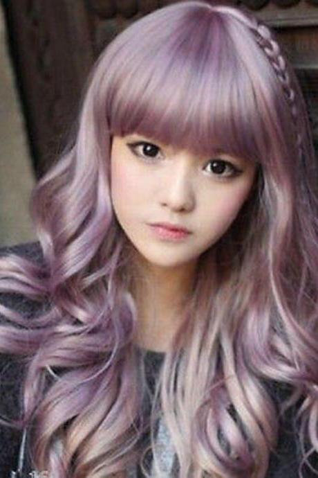 Japanese Harajuku Zippe Purple Mix Gradient Curly Cosplay Party Lolita Wig Wigs