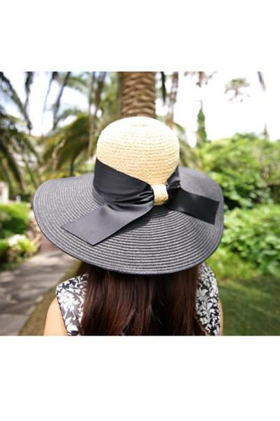 Wild Rafi brimmed straw hat Temperament Black Shading Sandy beach Bow Straw hat