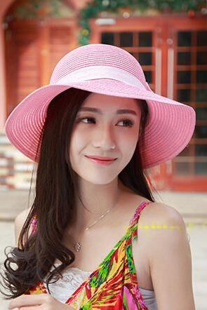 The Straw Spring Summer Lace Bow Sunscreen Beach Hat Large brimmed Hats