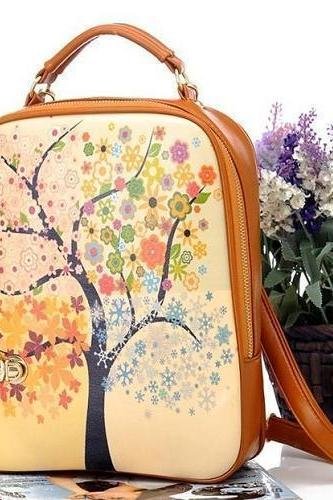 Korean Women Trees Cartoon Printed Handbag School Bag Shoulder Backpack Bags