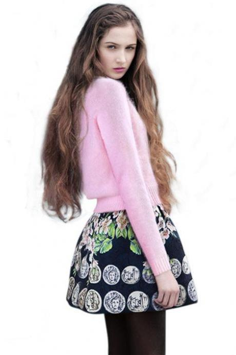 Loose Angora Sweater European Tide Fashion two piece Suit Rabbit Printed skirt