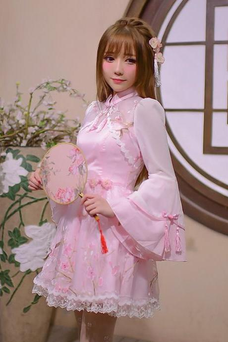 New Korean Women Chinese Style Lolita lace Long Sleeved dress Cheongsam Dresses