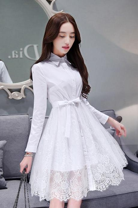 Woman White Snow Ladies New Slim Waist A Skirt Long lace Above Knee Dress