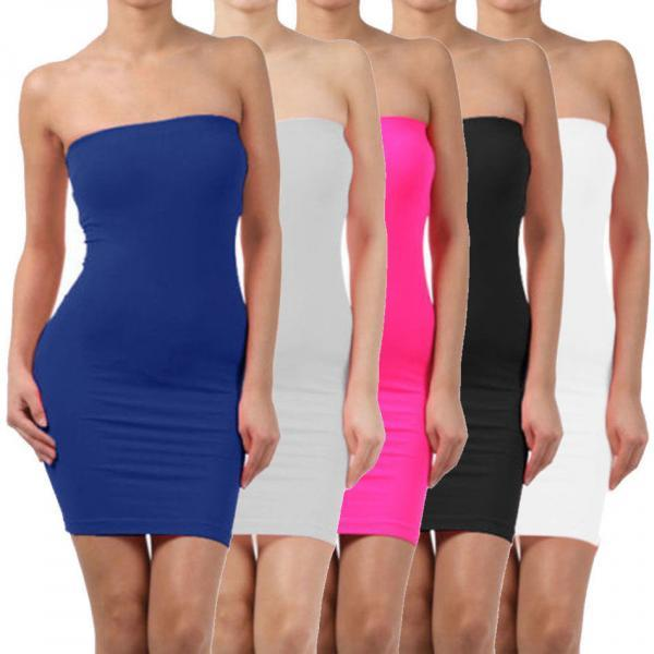 Elastic Tube Mini Dress Strapless Stretch Tight Body-con Seamless 1 Size Dresses