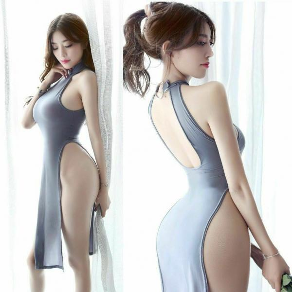 Sexy Trendy High Side Split Lingerie Sheer Cheongsam Long Halter Backless Dress
