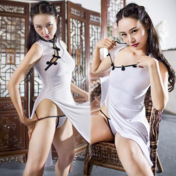Lingerie Striped Pattern Halter Neck Cheongsam Sleepwear Long GString Nightwear