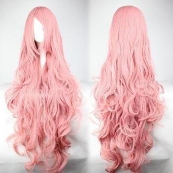 "40"" Long Curly Wave Pink Wig High Quality Costume Full Hair Cosplay Wigs"