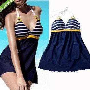 Navy Sailor Striped One Piece Blue Halter Swimsuit Tankini Swimwear Plus Size Swim Dress