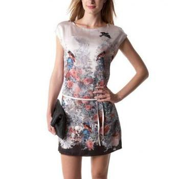 Chic Spring Europe Women Vintage Floral Flying Bird Animal Dress Party Gown