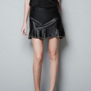 Synthetic Leather Flounce Mini Skirt with Rivet Detailing