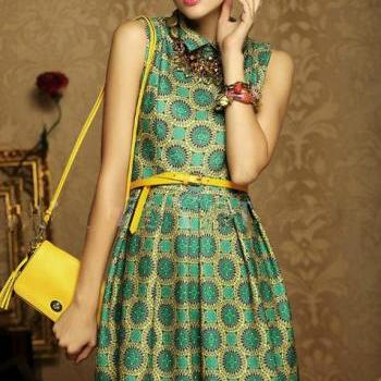 New Fashion Retro Girl Lady Peter Pan Collar Geometric Print Mini Dress With Belt