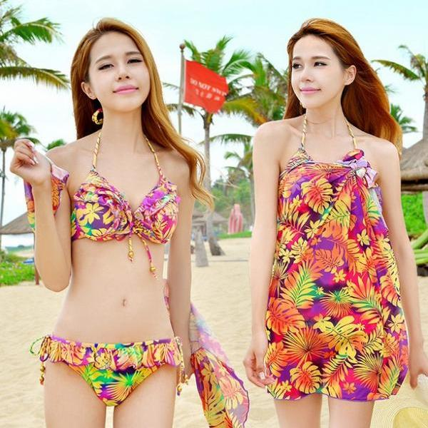 Colorful Floral three pieces bikini swimsuit steel prop Bathing Spa Ladies swimwear