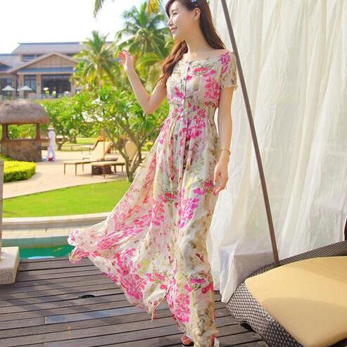 Women Bohemia Slit Neckline Strapless BOHO Beach Floral Print Dress