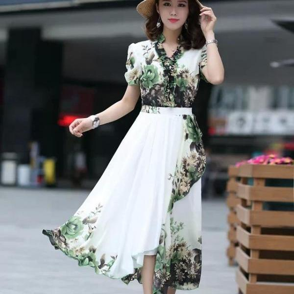Woman Casual Fashion Chiffon Bohemia Bohemian Short Sleeve Pleated Beach Floral Dress
