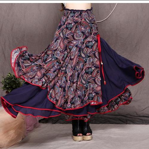 Women Long Skirt Fashion Autumn Winter Women Casual Layers Linen Patchwork Female Long Skirt Creative National Style Skirt