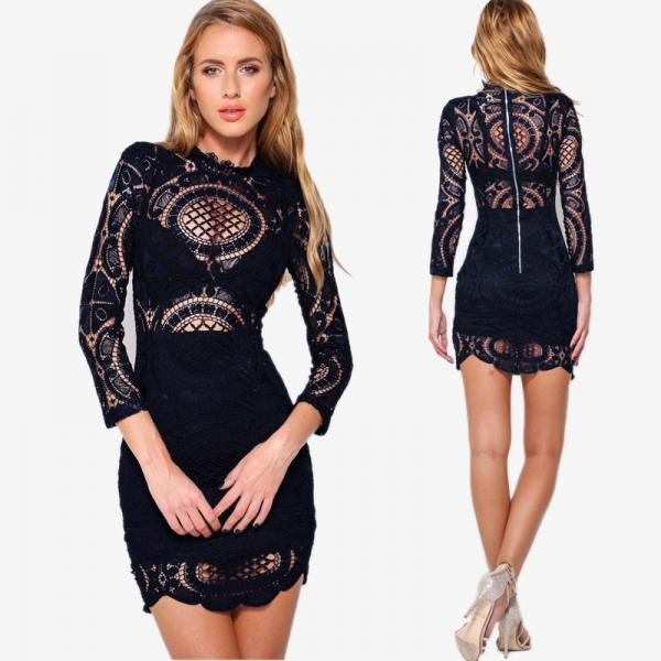 New Autumn Winter Women See Through Sexy Lace Sleeve Short Dress Dresses